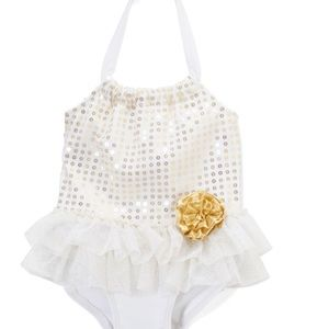 Other - White and Gold Sequin Swimsuit NWT, Size 4T